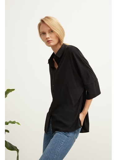 Love My Body Düğmeli 3/4 Kollu Gömlek Siyah